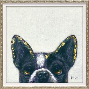 絵画 油絵 肉筆絵画 壁掛け (額縁 アートフレーム付き) オイル ペイント アート「ピーパ ドッグ2(Sサイズ)」|touo