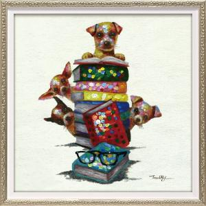 絵画 油絵 肉筆絵画 壁掛け (額縁 アートフレーム付き) オイル ペイント アート「ドッグ オン ブックス(Sサイズ)」|touo