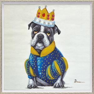 絵画 油絵 肉筆絵画 壁掛け (額縁 アートフレーム付き) オイル ペイント アート「キング ドッグ(Mサイズ)」|touo