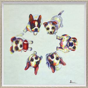 絵画 油絵 肉筆絵画 壁掛け (額縁 アートフレーム付き) オイル ペイント アート「ドッグ サークル(Mサイズ)」|touo