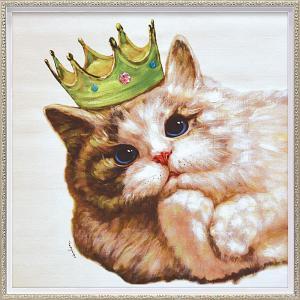 絵画 油絵 肉筆絵画 壁掛け (額縁 アートフレーム付き) オイル ペイント アート「キング キャット(Mサイズ)」|touo