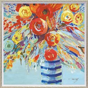 絵画 油絵 肉筆絵画 壁掛け (額縁 アートフレーム付き) オイル ペイント アート「ペール フラワーズ(Mサイズ)」|touo