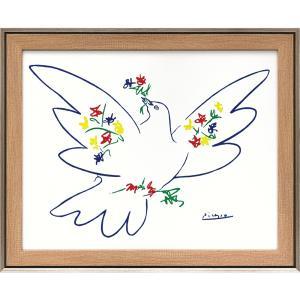 額縁付き絵画 パブロ ピカソ「花とハト」 touo
