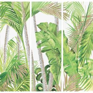 インテリア アート 壁掛け ウッド スカルプチャー アート「パーム&バナナ(3枚セット)」|touo