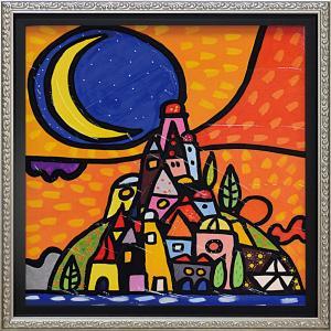 絵画 インテリア アートポスター 壁掛け (額縁 アートフレーム付き)付 ウォーラス「ルーナ スッラ コリーナ(Mサイズ)」|touo