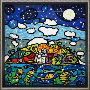 絵画 インテリア アートポスター 壁掛け (額縁 アートフレーム付き)付 ウォーラス「イゾラ デイ ソーニ(Lサイズ)」|touo