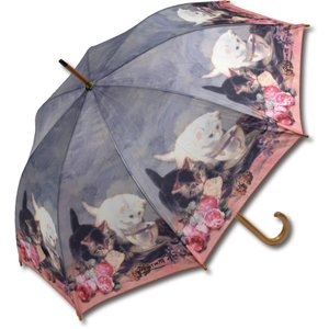 インテリア小物 名画木製ジャンプ傘(ヘンリエッテ ロナーニップ「キャット・フレンド」) touo