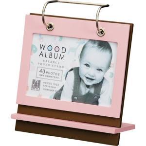 額縁 フォトフレーム 写真立て 木製フレームアルバム バランス スタンド「Sサイズ(ピンク&ブラウン)」|touo