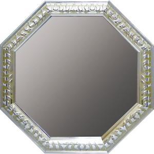 インテリア 開運鏡 壁掛け アンティーク 風水八角ミラー Lサイズ(シルバー)|touo
