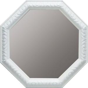 インテリア 開運鏡 壁掛け アンティーク 風水八角ミラー Lサイズ(ホワイト)|touo