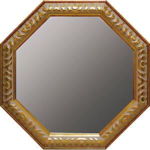 インテリア 開運鏡 壁掛け アンティーク 風水八角ミラー Lサイズ(ゴールド)|touo