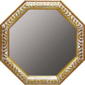 インテリア 開運鏡 壁掛け アンティーク 風水八角ミラー Lサイズ(ゴールド/アンティークホワイト)|touo