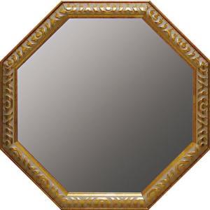 インテリア 開運鏡 壁掛け アンティーク 風水八角ミラー LLサイズ(ゴールド)|touo