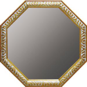 インテリア 開運鏡 壁掛け アンティーク 風水八角ミラー LLサイズ(ゴールド/アンティークホワイト)|touo