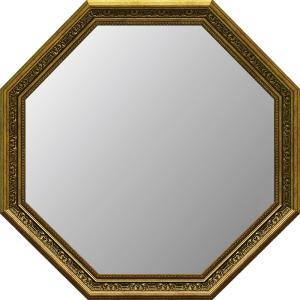アンティーク 大型八角ミラー(ゴールド)|touo