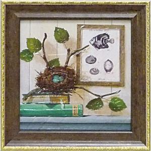 絵画 インテリア アートポスター 壁掛け (額縁 アートフレーム付き) ミニゲル アート アニー フィスク「シーサイド ブランチ」|touo