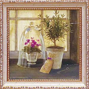 絵画 インテリア アートポスター 壁掛け (額縁 アートフレーム付き) アンジェラ スターリング「ハーブ ウィンドウ ガーデン」|touo