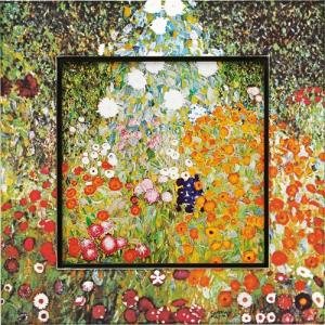 絵画 インテリア アートポスター 壁掛け (額縁 アートフレーム付き) ビッグアート クリムト「フラワーガーデン」|touo