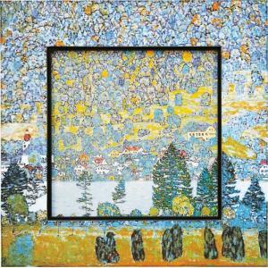 絵画 インテリア アートポスター 壁掛け (額縁 アートフレーム付き) ビッグアート クリムト「マウンテンスロープ」|touo