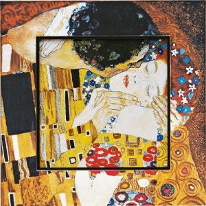 絵画 インテリア アートポスター 壁掛け (額縁 アートフレーム付き) ビッグアート クリムト「ザ・キス」|touo
