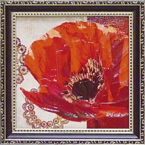 絵画 インテリア アートポスター 壁掛け (額縁 アートフレーム付き) ミニゲル アート ベラ ドス サントス「ボーホー ポピー」|touo