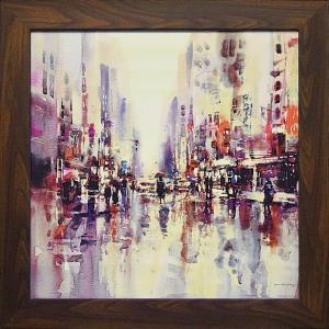 絵画 インテリア アートポスター 壁掛け (額縁 アートフレーム付き)付 ブレント ヘイトン「シティ レイン1」|touo