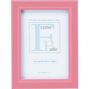額縁 フォトフレーム 写真立て ベーシック 「ポストカードサイズ(ピンク)」|touo