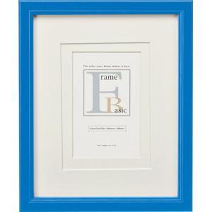 額縁 フォトフレーム 写真立て ベーシック 「ダブルマット付インチサイズ(ブルー)」|touo