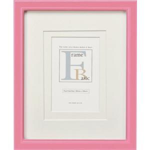 額縁 フォトフレーム 写真立て ベーシック 「ダブルマット付インチサイズ(ピンク)」|touo