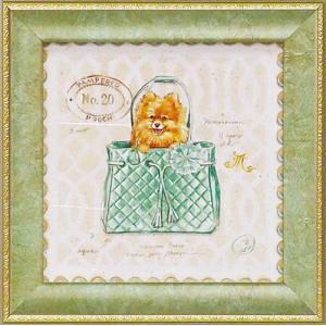絵画 インテリア アートポスター 壁掛け (額縁 アートフレーム付き) ミニゲル アート チャド パレット「ポメラニアン パピー パース」|touo