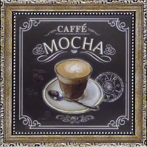 絵画 インテリア アートポスター 壁掛け (額縁 アートフレーム付き) ミニゲル アート チャド バレット「コーヒー ハウス カフェ モカ」|touo