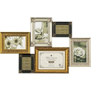 額縁 フォトフレーム 写真額縁 インテリア 壁掛け 写真 デコレーション 6 ウォール&スタンド ゴールド ミックス|touo