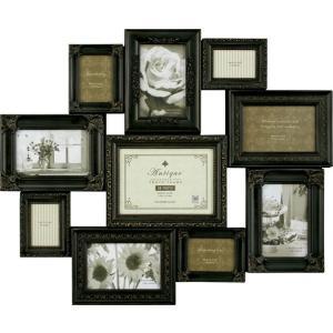 額縁 フォトフレーム 写真額縁 インテリア 壁掛け 写真 デコレーション 10 ウォール 「アンティーク ブラック」|touo