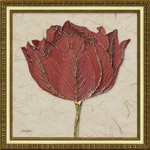 絵画 インテリア アートポスター ダイアン スティムソン「ゴールド レッド チューリップ」|touo