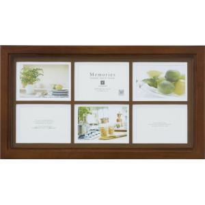 額縁 フォトフレーム 写真立て メモリーズ 木製フレームフォト「6ウィンドー(ブラウン)」|touo