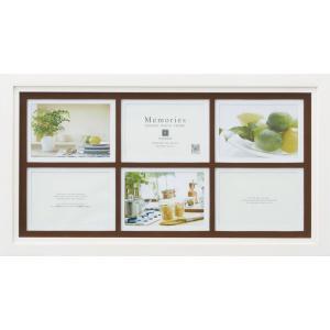 額縁 フォトフレーム 写真立て メモリーズ 木製フレームフォト「6ウィンドー(ホワイト)」|touo