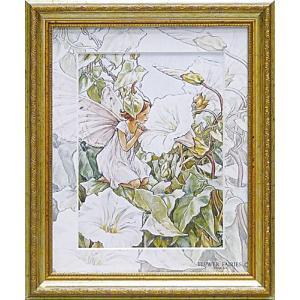 絵画 インテリア アートポスター 壁掛け (額縁 アートフレーム付き) フラワー フェアリーズ アート 「ホワイト バインド ウィード フェアリー」|touo