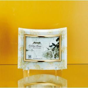 額縁 フォトフレーム 写真立て ゴールデンローズ ガラスフォト 1ウィンドー(ホワイト)|touo