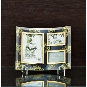 額縁 フォトフレーム 写真立て ゴールデンローズ ガラスフォト 3ウィンドー(クリア)|touo