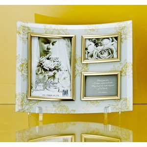 額縁 フォトフレーム 写真立て ゴールデンローズ ガラスフォト 3ウィンドー(ホワイト)|touo