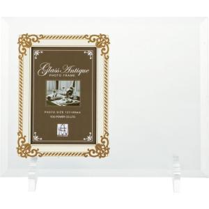 額縁 フォトフレーム 写真立て グラス アンティーク フォト「エッチング用1ウィンドー(ホワイト&ゴールド)」|touo