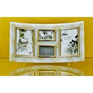 額縁 フォトフレーム 写真立て ゴールデンローズ ガラスフォト 4ウィンドー(ホワイト)|touo