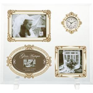 額縁 フォトフレーム 写真立て グラス アンティーク フォト「3ウィンドー&クロック(ホワイト&ゴールド)」|touo