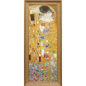 絵画 インテリア アートポスター 壁掛け (額縁 アートフレーム付き) ビッグアート クリムト作 「ザ・キス」|touo