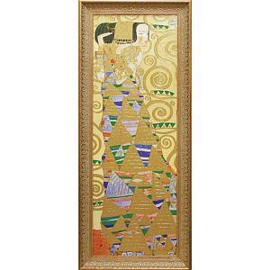 絵画 インテリア アートポスター 壁掛け (額縁 アートフレーム付き) ビッグアート クリムト作 「期待」|touo