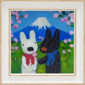 絵画 インテリア アートポスター 壁掛け (額縁 アートフレーム付き) リサとガスパール アート Sサイズ「にほんへいく」|touo