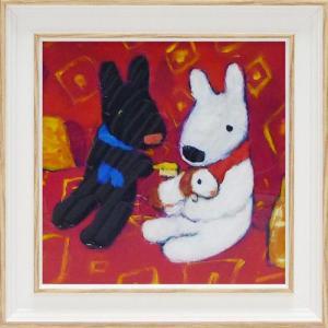 絵画 インテリア アートポスター 壁掛け (額縁 アートフレーム付き) リサとガスパール アート Sサイズ「ちいさなともだち」|touo