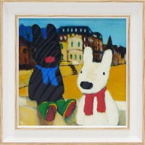 絵画 インテリア アートポスター 壁掛け (額縁 アートフレーム付き) リサとガスパール アート Sサイズ「海辺」|touo