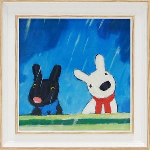 絵画 インテリア アートポスター 壁掛け (額縁 アートフレーム付き) リサとガスパール アート Sサイズ「たいくつないちにち」|touo