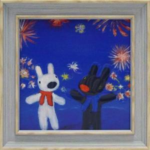 絵画 インテリア アートポスター 壁掛け (額縁 アートフレーム付き) リサとガスパール アート Sサイズ「花火」|touo